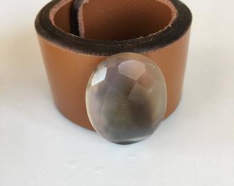 Agate Leather Cuff