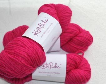 3 Skeins Knit Picks Wool of the Andes Bulky in Crush, Bright Pink Bulky Wool Yarn, Peruvian Highlands Wool Yarn, Wool Felting Yarn, Knitting