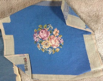 Beautiful Completed Vintage Needlepoint Piece, Multi Floral Design on a Light Medium Blue, ECS