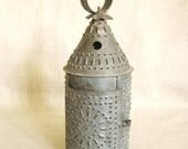 Vintage Pierced Metal Candle Lantern, Piercing Work, Candle Holder, Lamps, Metal Work, Folk Art, Primitive, Rustic, Cabin Decor, Hanging
