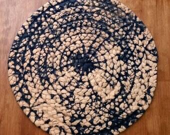 "24"" navy blue and soft orange braided rug"