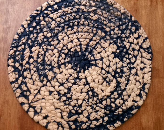 "24"" navy blue and soft orange braided rug"