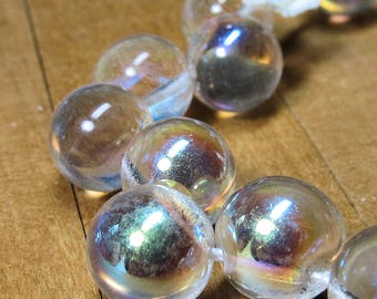 Czech Glass Beads 10mm Clear Smooth Round Offset Drilled Balls with a lovely AB Finish Beads - 10 Pieces