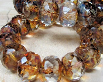 Czech Glass Beads 10 x 6mm Designer Semi Transparent and Caramel Brown and Clear Faceted Rondelles - 15 Pieces
