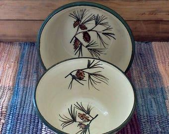 Medium size handmade pottery bowls - set of 2 - Handmade ceramic serving bowls - Rustic Pottery Bowls in Pinecone - nesting bowls - 601