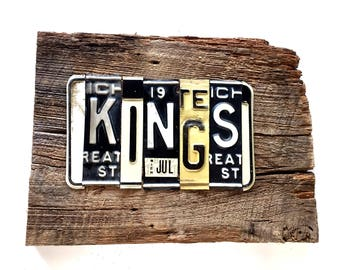 OOAK LA Los Angeles KiNGS NHL hockey Stanley Cup sports upcycled license plate art sign black white tomboyART tomboy