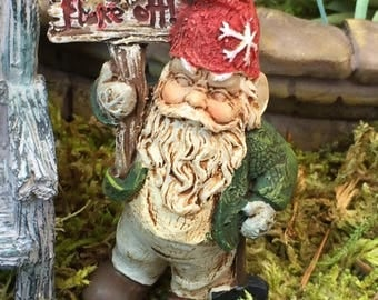 SALE Grumpy Gnome Figurine With Flake Off Sign, Bird and Metal Pick, Miniature Gardening Accessory, Home and Garden Decor, Topper