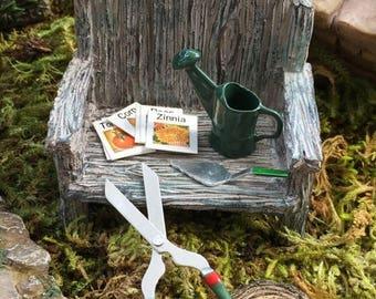 SALE Miniature Gardening Tools, Dollhouse Miniatures, Fairy Garden, Dollhouses, Miniature Garden Accessories, Watering, Seeds, Trowel & More