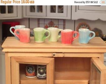 SALE Miniature Colored Coffee Cups, Miniature Mugs, Dollhouse Miniature, 1:12 Scale, Dollhouse Accessories, Decor, Mini Cups, Set of 6 Piece