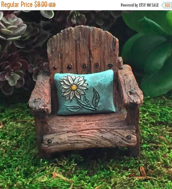 SALE Mini Chair With Attached Aqua Daisy Pillow, Weathered Wood Look Chair, Fairy Garden Chair, Home & Garden Decor