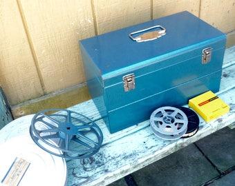 Vintage Blue Metal Film Reel Case Storage Chest and Home Movie Films