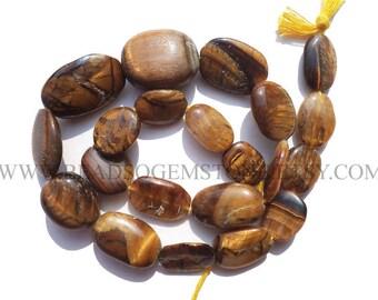 Semiprecious Stone, Tiger Eye Smooth Oval (Quality C) / 11x14 to 15x21 mm / 36 cm / TI-022