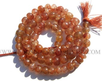 Gemstone Beads, Red Moss Quartz Smooth Roundel (Quality A) / 6 to 7 mm / 36 cm / REDM-034