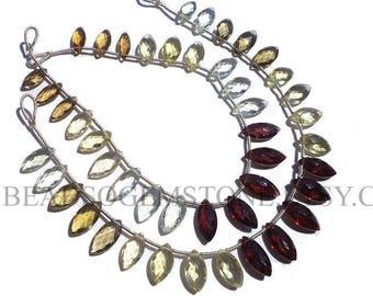 Semiprecious Beads, Multi Faceted Marquise (Quality AAA) (Green Amethyst Olive Quartz Lemon Garnet) / 5x10 to 6x13.5 mm / 18 cm / MI-035