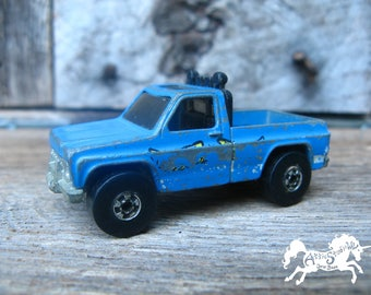 1977 HOT WHEELS TRUCK Chevy Blue Bywayman 2.75 Inches Very Worn Condition 1:64 Scale Diecast Car Mattel Hong Kong Blackwall Tire Vintage Toy