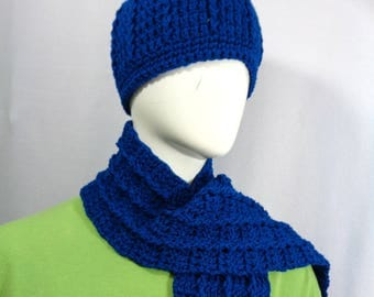 Peacock Blue Scarf and Hat, Crochet Cap and Fringe Scarf Set, Christmas Present, Gift for Mom, MADE TO ORDER  Women Ribbed Hat and Scarf Set