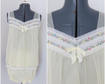1960s Butter Yellow Babydoll Nighty & Panties - Lingerie Set - Bust 34