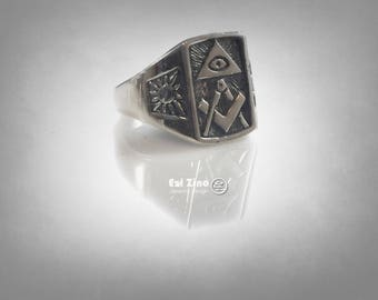 ALL SEEING EYE masonic freimaurer silver ring 925 all size available