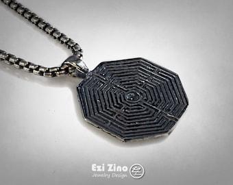 Greek LABYRINTH Maze Necklace solid sterling silver 925 Ezi Zino