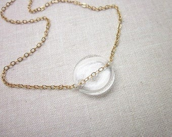 Clear Glass Bead Necklace -- Coin Bead Necklace -- Blown Glass Bead Necklace -- Minimalist Clear Necklace -- Simple Clear Pendant Necklace