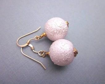 Pink Bead Dangles -- Pink Gold Bead Earrings -- Pink Ball Drops -- Large Ball Earrings -- Textured Pink Earrings -- Sphere Bead Earrings