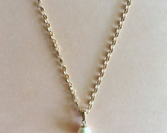 Vintage 9k Gold and Pearl on Vintage English 9k Gold Faceted Chain