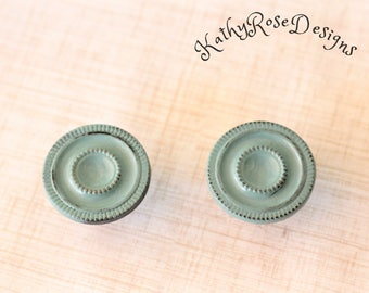 shabby chic vintage  brass knobs, two distressed teal pink white black seafoam green