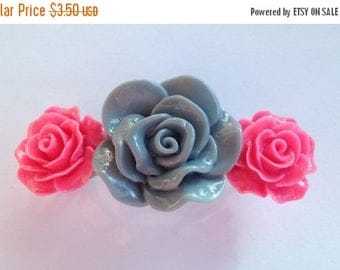 BIG Clearance Sale Hot Pink and Gray Flowers Hair Barrette