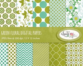 50%OFF Green floral digital papers, boho flowers, floral digital paper, quatrefoil digital paper, St. Patrick digital paper, P112