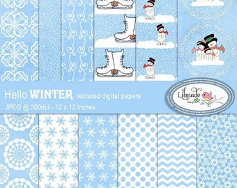50%OFF Winter digital papers, Snow digital papers,  Christmas digital papers, snowman digital papers, Christmas scrapbook papers, P197