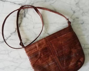 THANKS- Vintage EEL Leather Small Sling Purse 80s