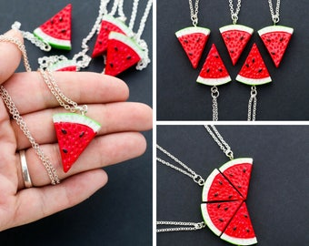 Watermelon Jewelry • Fruit Slice Watermelon Gift Friend Necklace • BFF Best Friend Jewelry • Food Charm Friend Gift Sister Summer Necklace
