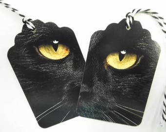 Spooky Black Cat Eyes Halloween Vintage Inspired Set Lot (12) EA Hang Tags Cards Party Gift Favors