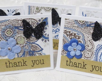Handmade Mini Thank You Cards, Blue and Black Paisley, Flower and Butterflies Set of 22