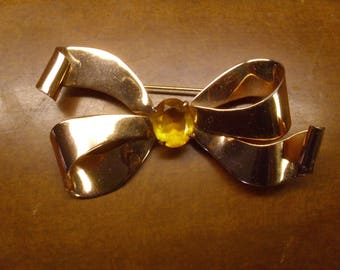 Vintage 1950's  Coro Sterling Bow Brooch