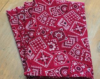 Red Bandana Reusable Cloth Napkins Set of 4 Double Sided 100% Cotton Eco Friendly Large 19 x 19