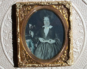 Ambrotype of Bookish Lady - Framed in Brass Mat / Preserver