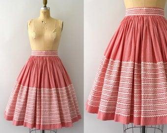 Vintage 1950s Skirt - 50s Red Gingham Cotton Ric Rac Full Skirt