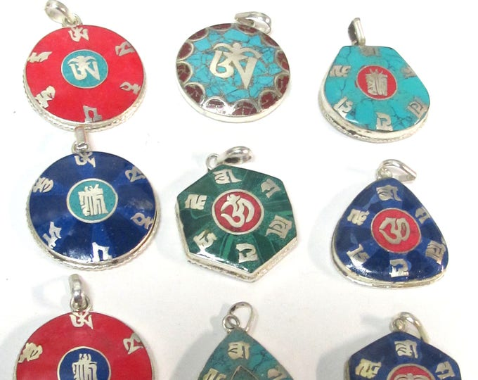 12 pendants variety mix  bulk lot Nepal Tibetan Buddha eye Om kalachakra mantra pendants with inlay - Buy in bulk and save on price - PM056C