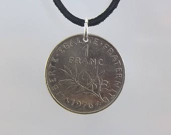 1976 French Coin Necklace, 1 Franc, Coin Pendant, Mens Necklace, Womens Necklace, Leather Cord, Vintage