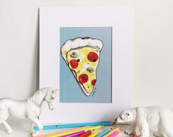 Pizza Print on Blue, Silly Food Art