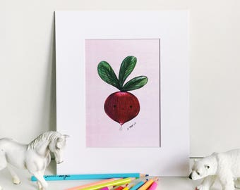 Radish Print on Pink, Silly Food Art