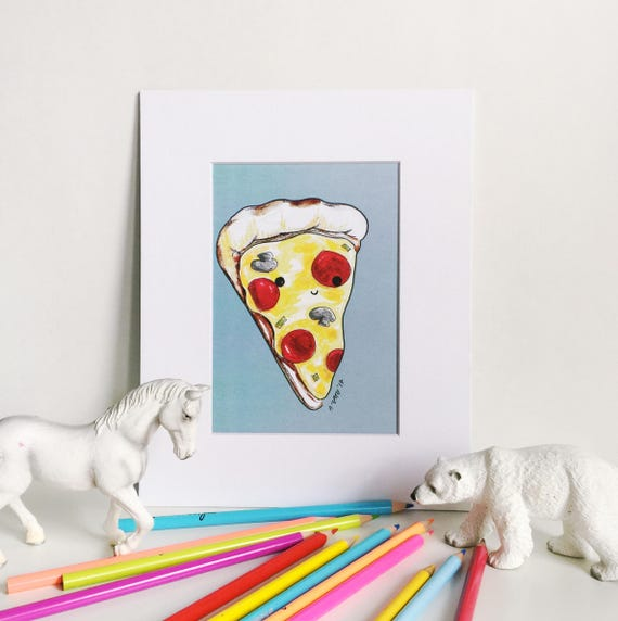 Happy Pizza Print on Blue, Silly Food Art