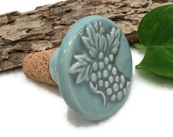 Ceramic Wine Stopper - Sea Glass Blue