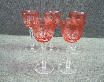 Czech crystal cut colored wine glasse  5 pieces Set