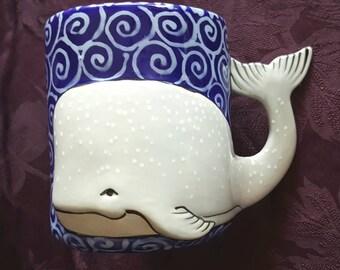 MUG, Hand Painted Mug,Whale mug, Ceramic mug, Whimsical Mug,Coffee Mug, Tea Mug,Hot chocolate Mug,Cocoa Mug,Large Mug,Unique Mug,Whale