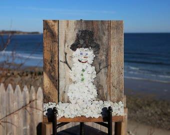 Holiday Photo Canvas- Snowman, seaglass, Winter Beach Theme, coastal decor, beach glass art, rustic, whimsical, gallery wrap canvas, special