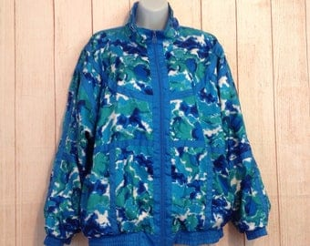 Vintage 90s Blue Print Zip Up Preppy Sporty Hipster Windbreaker Jacket Ladies L