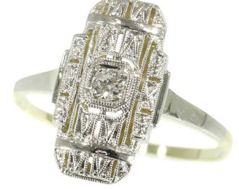 One diamond rectangular ring 14k yellow white gold center old European cut diamond .08ct Art Deco engagement ring vintage jewelry