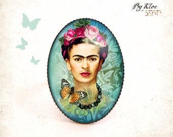 Ring Cabochon • Frida art Butterfly portrait Blue Green Pink glass paint